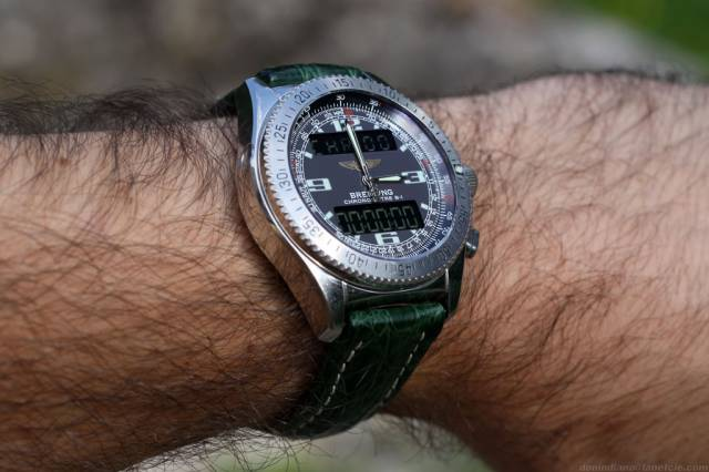 B-1 on wrist with green strap (b-1_ws_green-strap.jpg)