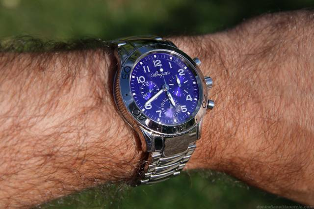 Blue Type XX on wrist (breguet_type_tt_wrist_backyard.jpg)